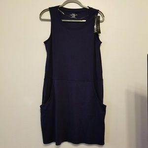 August Silk dark blue cotton pullover dress